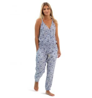 Womens Blue Shibori Jumpsuit