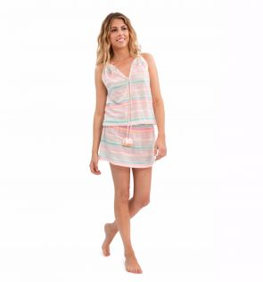 Womens Pink and White Kurta Stripe Dress