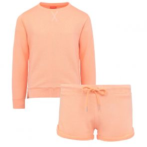 Girls Neon Peach Short Sweat Set