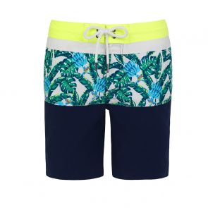 Teen Boys Navy Banana Palm Board Shorts
