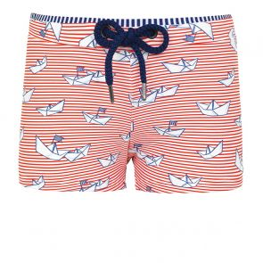 Boys Red Stripe Paper Boats Swim Trunks