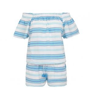 Womens Blue Stripe Off Shoulder Playsuit