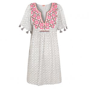 Womens Light Grey Embellished Boho Dress
