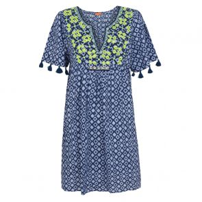Womens Blue Embellished Boho Dress