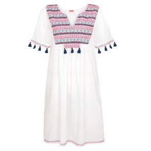 Womens White Embroidered Boho Dress