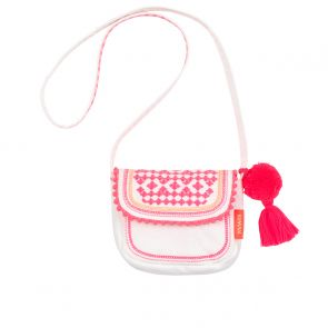 Girls White Embroidered Hippy Bag