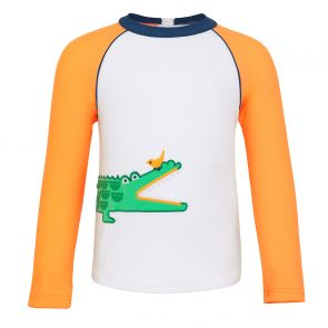 Baby Boys White Crocodile Long Seeve Rash Vest