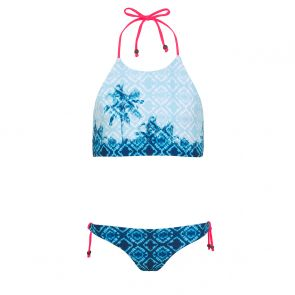 Teen Girls Blue Palm Tree Halterneck Bikini