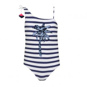 Teen Girls Blue Stripe & Sequin Palm Tree Swimsuit