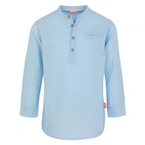 Boys Blue Nehru Collar Long Sleeve Cotton Shirt