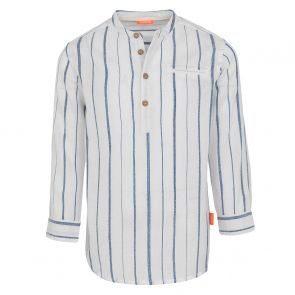 Boys Blue Stripe Nehru Collar Long Sleeve Cotton Shirt