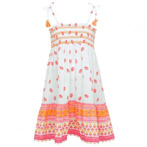 Girls White Indian Block Print Cotton Bell Dress
