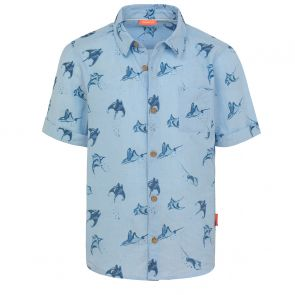 Boys Blue Mantaray Print Short Sleeve Cotton Shirt