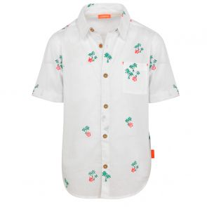Boys White Palm Print Short Sleeve Cotton Shirt