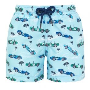 Boys Blue Vintage Car Swim Shorts