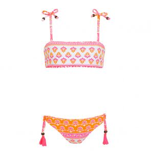Girls Pink Indian Block Print Bandeau Bikini