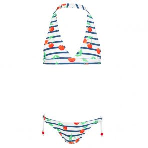 Girls Navy Stripe Cherries Halter Bikini
