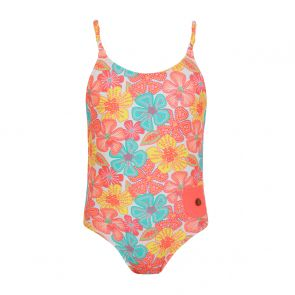 Girls Peach Floral Swimsuit