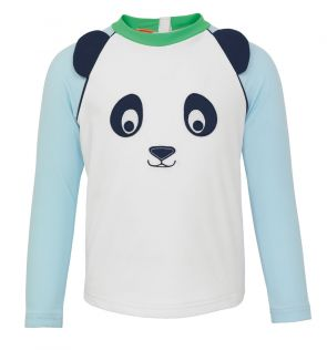 Baby Boys White Panda Long Sleeve Rash Vest