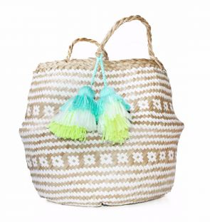Small Aqua Straw Basket with Tassel