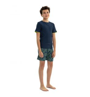 Boys Navy Short Sleeve Rash Vest