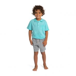 Boys Blue Cotton Slub Polo Shirt