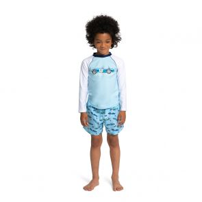 Boys Blue Vintage Car Long Sleeve Rash Vest