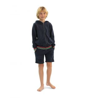 Boys Navy Zip Up Hoodie and Shorts Set