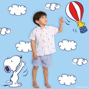 Baby Boys White Snoopy Short Sleeve Cotton Shirt