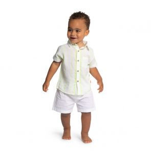 Baby Boys Neon Yellow Stripe Short Sleeve Shirt