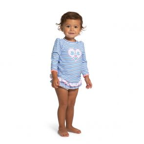 Baby Girls Blue Stripe Anchor Rash Vest
