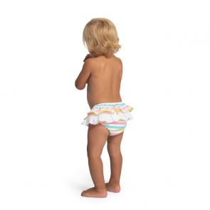 Baby Girls Multi Stripe Broderie Nappy Pant