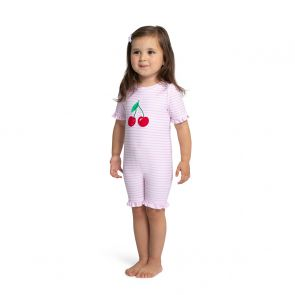 Baby Girls Pink Stripe Cherries Sun Suit