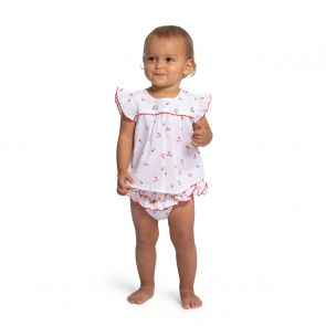 Baby Girls White Cherries Cotton Set