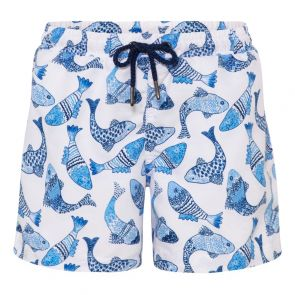 Boys White Batik Fish Swim Short