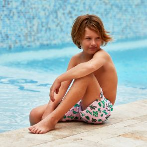 Boys Pink Cactus Swim Shorts