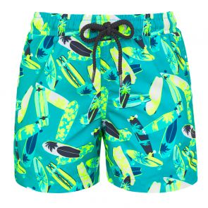 Boys Teal Longboard Swim Shorts