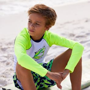 Boys White and Neon Shark Long Sleeve Rash Vest