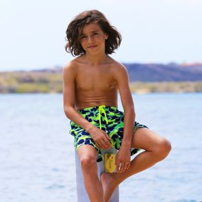 Boys Navy Neon Shark Swim Shorts