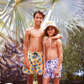 Boys Neon Orange Angel Fish Swim Shorts