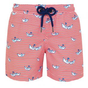 Boys Red Stripe Paper Boats Swim Shorts