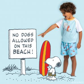 Boys Blue Snoopy Short Sleeve Rash Vest