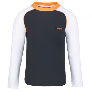 Boys Charcoal Grey Sunuva Long Sleeve Rash Vest