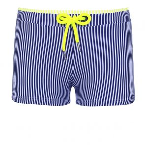 Boys Navy Sunuva Stripe Swim Trunks