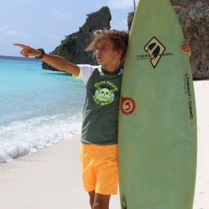 Boys Khaki Surf Skull Short Sleeve Rash Vest