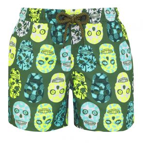 Boys Khaki Surf Skull Swim Shorts