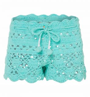 Girls Frozen Aqua Crochet Shorts