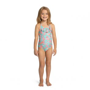 Girls Aqua Koi Carp Halter Frill Swimsuit