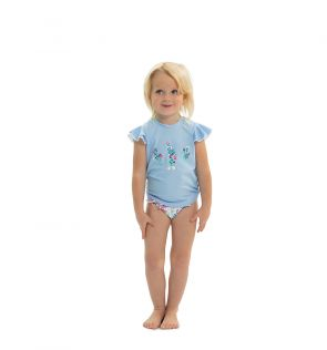 Girls Blue English Floral Flutter Short Sleeve Rash Vest