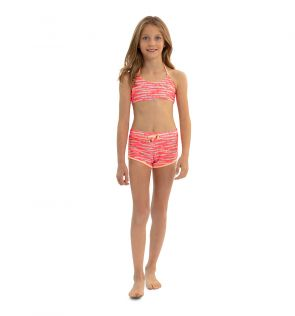Girls Coral Orange Friendship Bracelet Surf Shorts